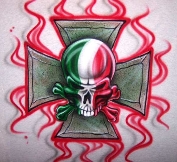 Airbrushed Italian Flag Skull Shirt with Iron Cross Background & Flames