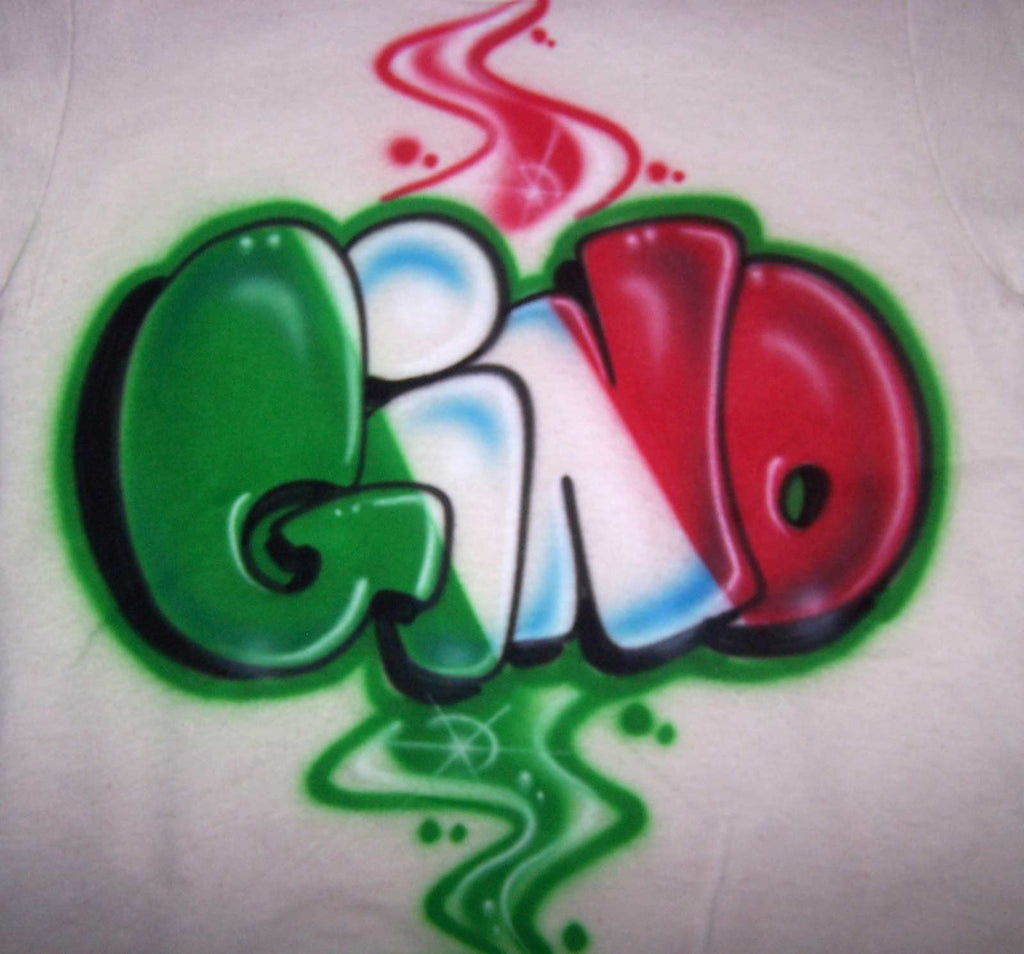Airbrushed Italian flag in Block Letters Personalized Graffiti Shirt