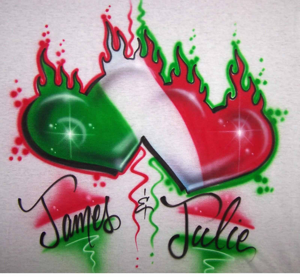 Airbrushed Italian Flaming Double Heart for Couples. T-Shirts & Sweatshirts Available Online Now!