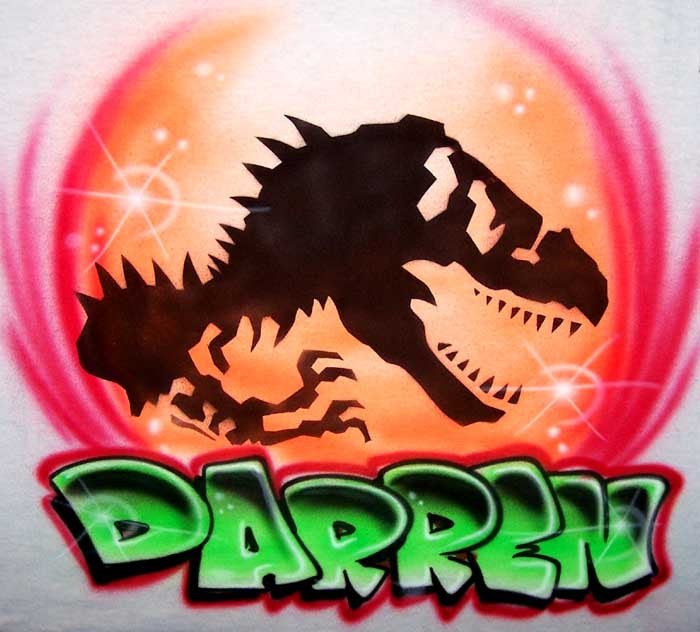 Jurassic Inspired T-Rex Airbrushed Personalized Shirt