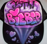 Airbrushed Justin Bieber And Hearts Trucker Hat