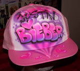 Pink Trucker Hat Airbrushed Justin Bieber with Hearts