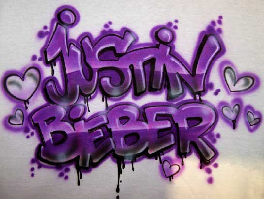 Justin Bieber Airbrushed Graffiti Style Shirt
