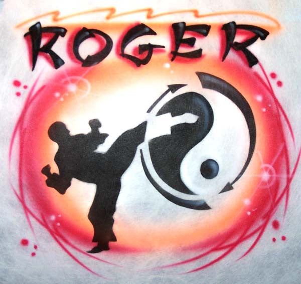 Karate Kick & Yin Yang Airbrushed Shirt