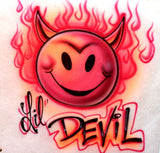 Little Devil Smiley Face Airbrushed Shirt