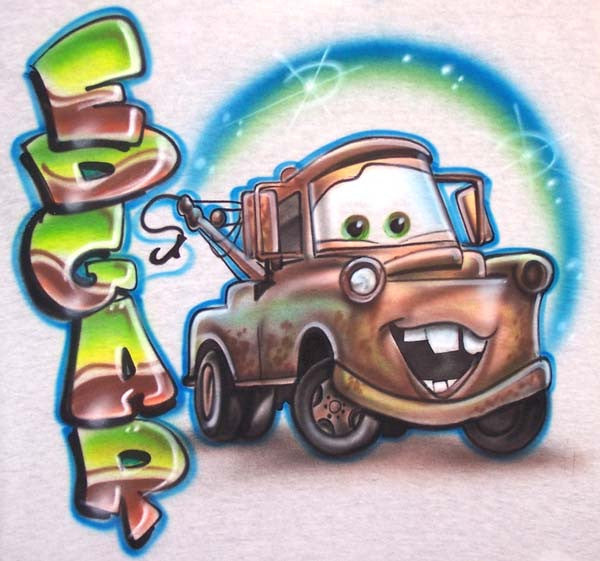 Airbrushed Mater Inspired Personalized T-Shirt Design