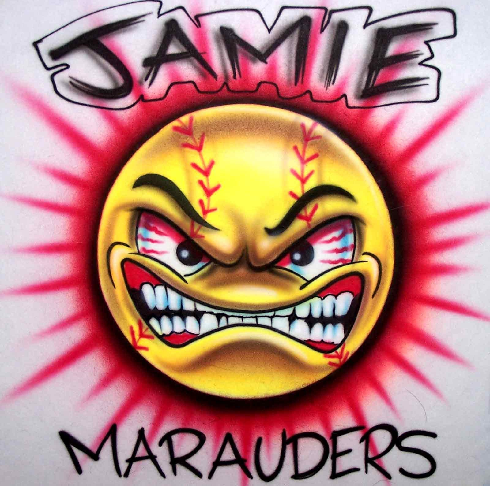 Mean Face Softball Airbrushed Custom Team Shirt Personalized