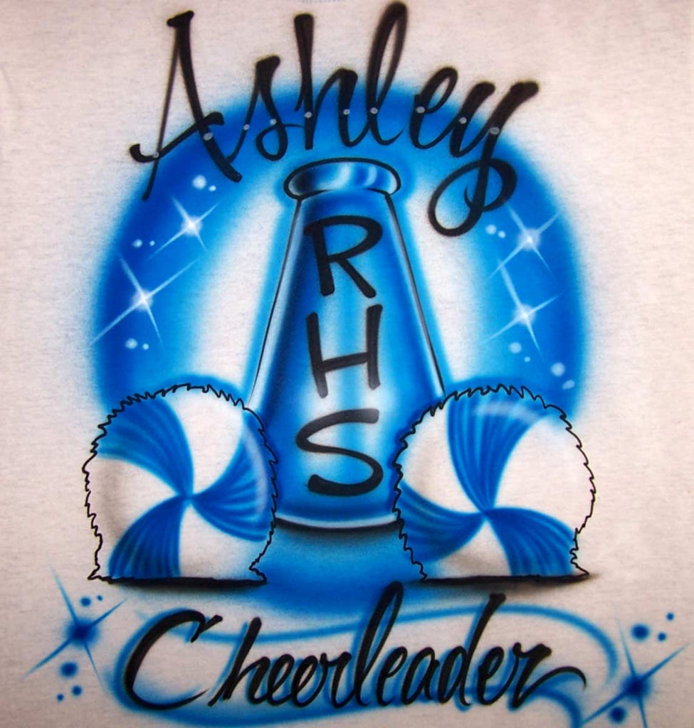 Airbrushed Pom Pom and Megaphone Personalized Cheerleader Tee or Sweat Shirt