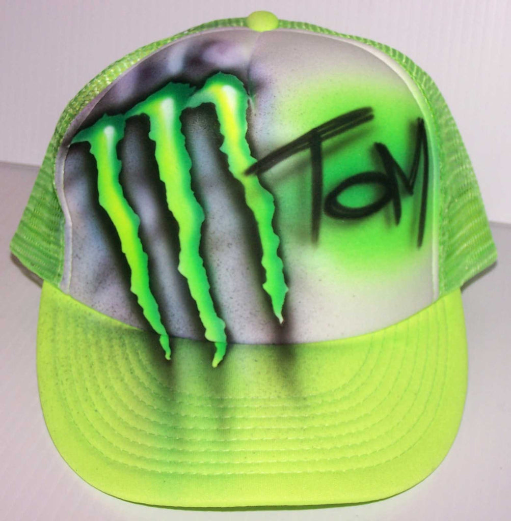 Personalized Monster Theme Airbrushed Snap Back Trucker Hat