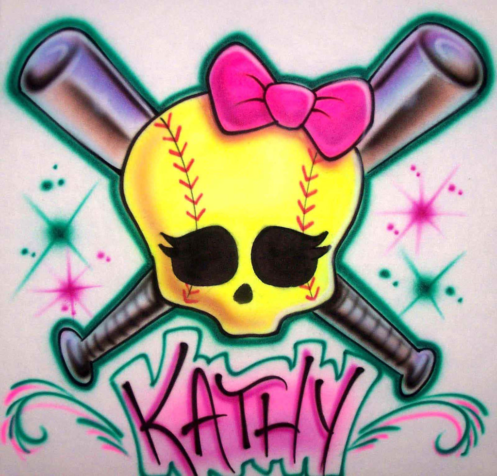 Airbrushed Cute Softball Skull and Crossed Bats Personalized Shirt