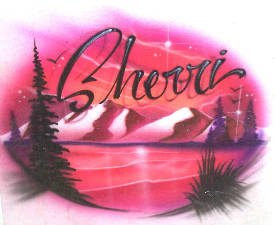 Airbrush Mountain scene personalized