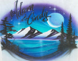 Double Name Mountain Scene Airbrushed Design