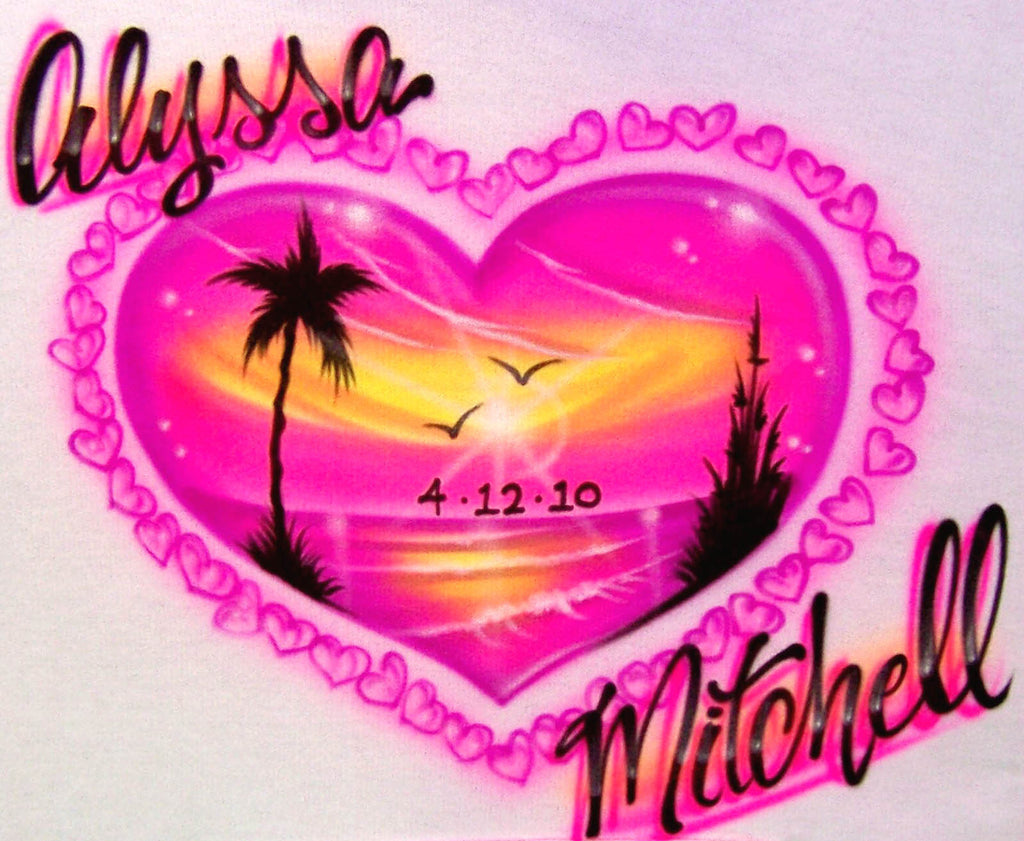 Neon Pink Heart Shaped Beach Scene  and Double Name Airbrushed Shirt