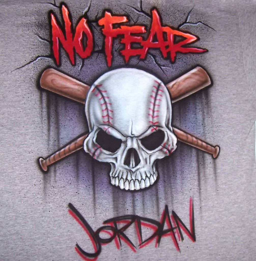 Airbrush No Fear Baseball Skull and Bats Custom Shirt