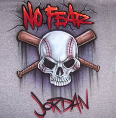 Personalized No fear Baseball Skull Airbrushed Custom Shirt