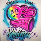 Peace Love Cheer Airbrush Megaphone Heart Personalized Shirt