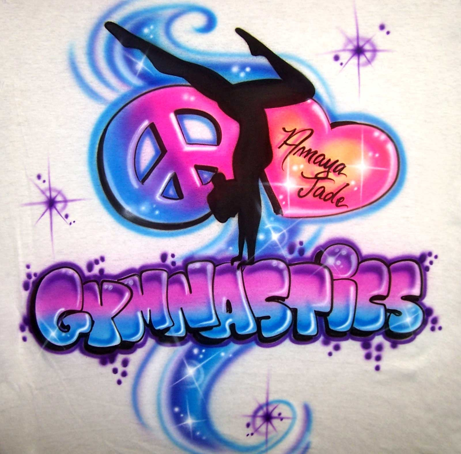 Peace Heart Gymnast airbrushed custom T-Shirt Sweatshirt
