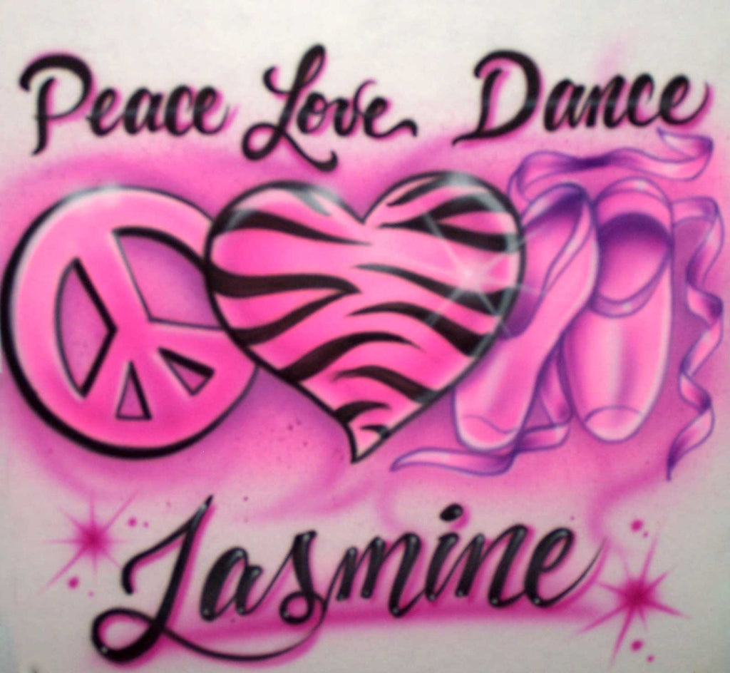 Airbrushed Peace Love Ballet Slippers Dance Shirt