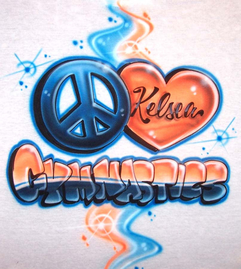 Peace Love Gymnastics personalized airbrushed shirt design