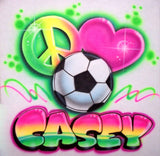 Peace Love Soccer Airbrushed Shirt Design