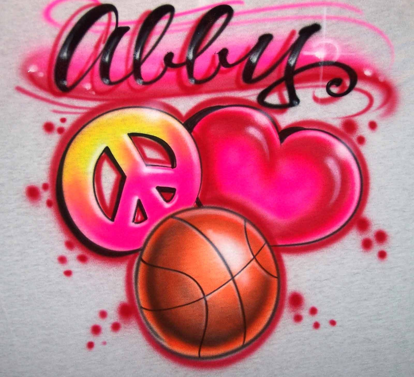 Peace Love Basketball Airbrushed Personalized Shirt Design