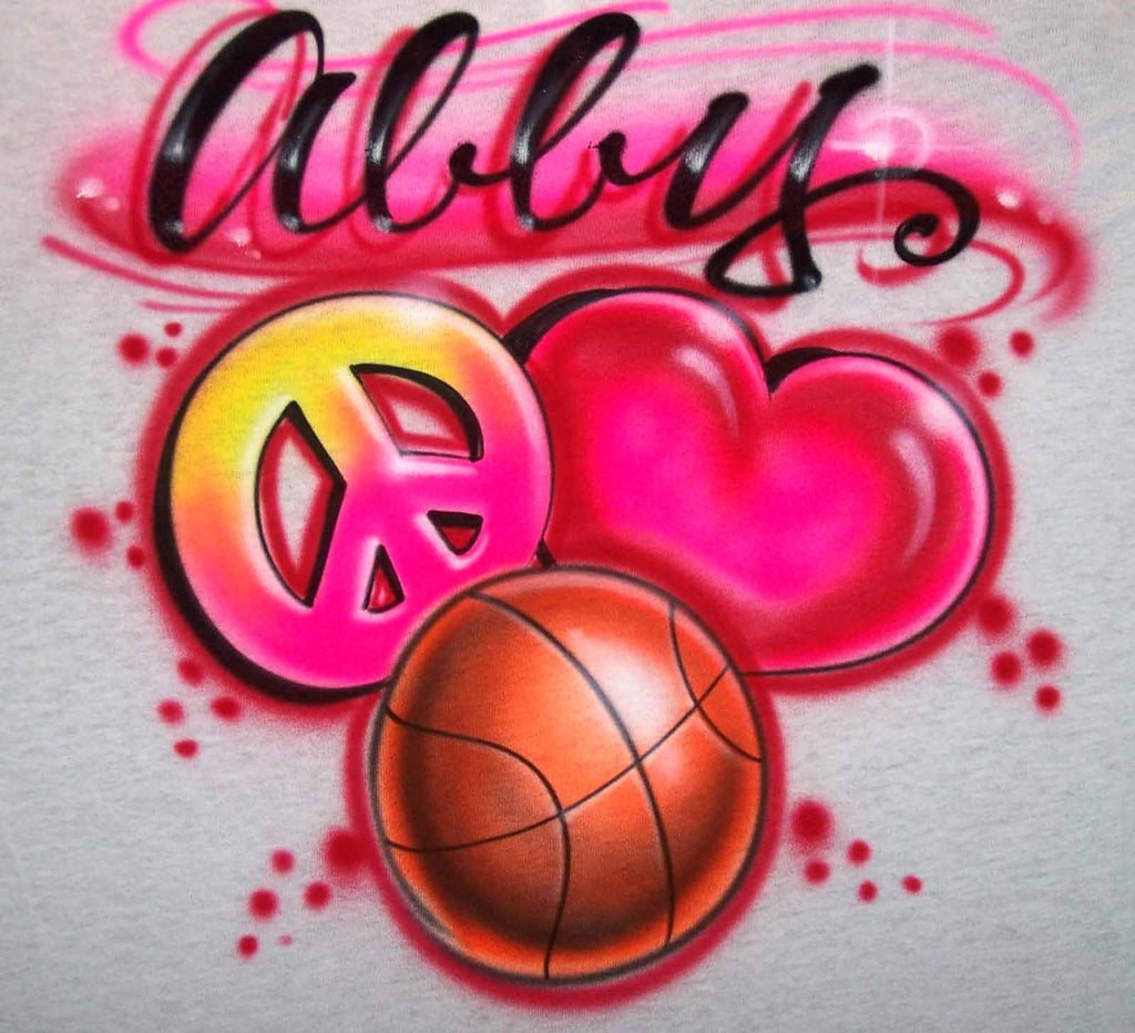 Peace Love Basketball Airbrushed Shirt Design