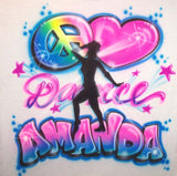 Peace love Dancer airbrushed shirt with any name