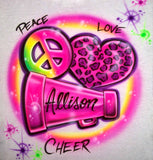 Peace love megaphone cheerleader airbrushed shirt personalized