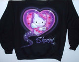 Personalized Hello  Kitty Airbrushed black Sweatshirt