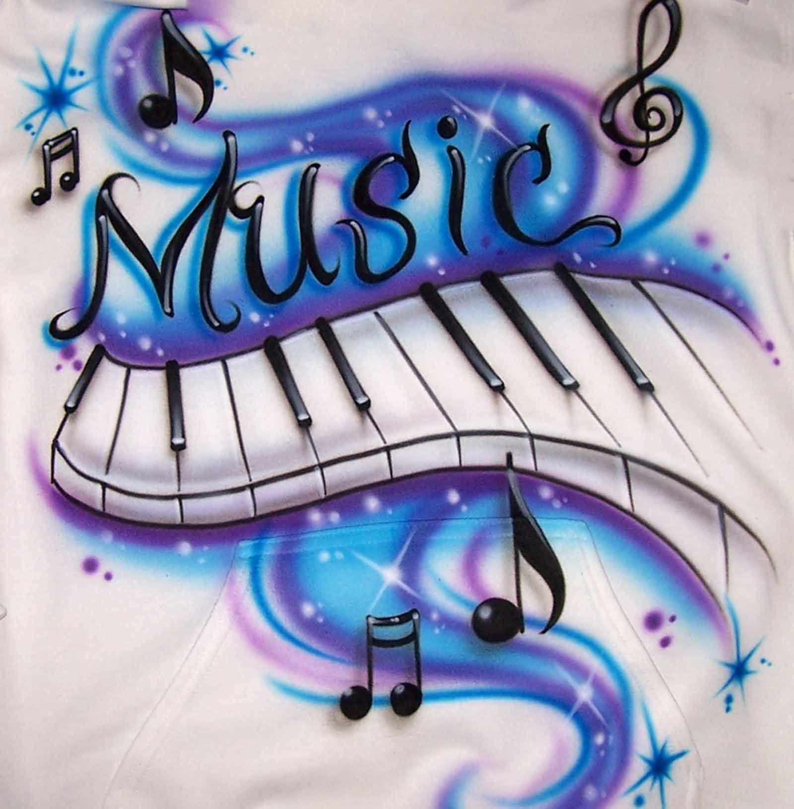 Airbrush Piano Music notes shirt