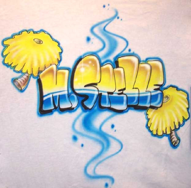 Personalized Pom Pom Cheerleader Airbrushed Shirt