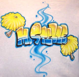 Pom Poms and Name Airbrushed Cheerleader Shirt Design