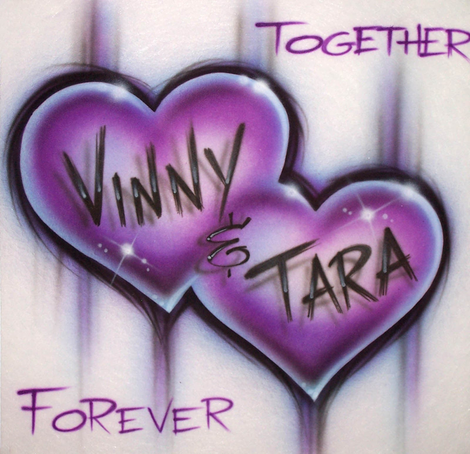 2d1465b9 Together Forever Dripping Double Heart with Any Two Names Airbrushed