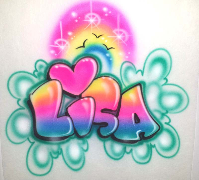 Airbrushed Rainbow Heart and Personalized Bubble Letter Name for T-Shirts, Sweatshirts & More!