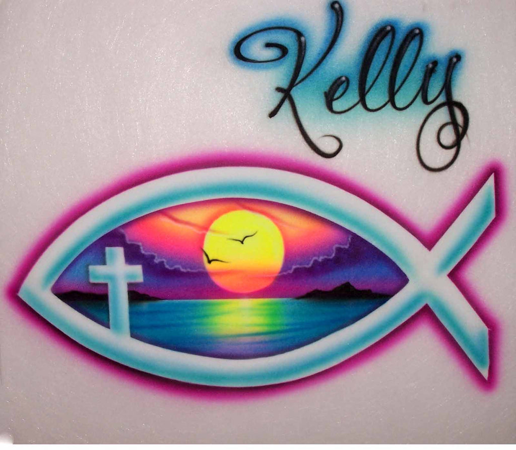 Airbrushed Ichthus Fish Religious Symbol Personalized Shirt