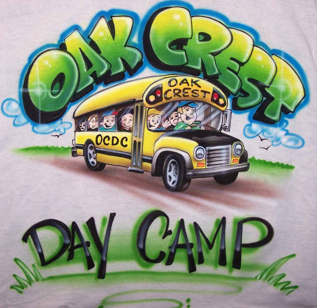 Custom School Bus Camp Trip Airbrushed Double Sided Shirt Design