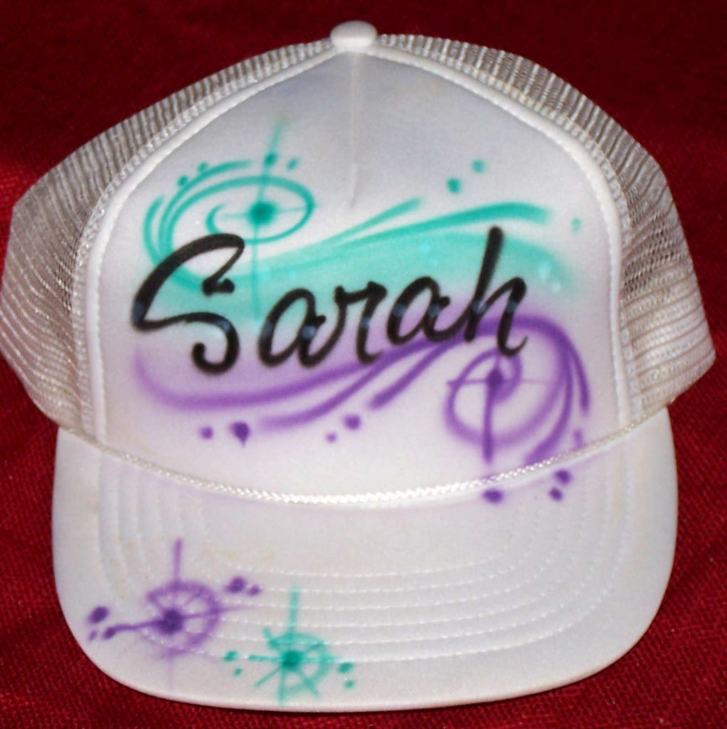 Airbrushed Personalized Script Name With Color Swirls Trucker Hat
