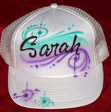 Script Name Stars And Swirls Airbrushed Trucker Hats