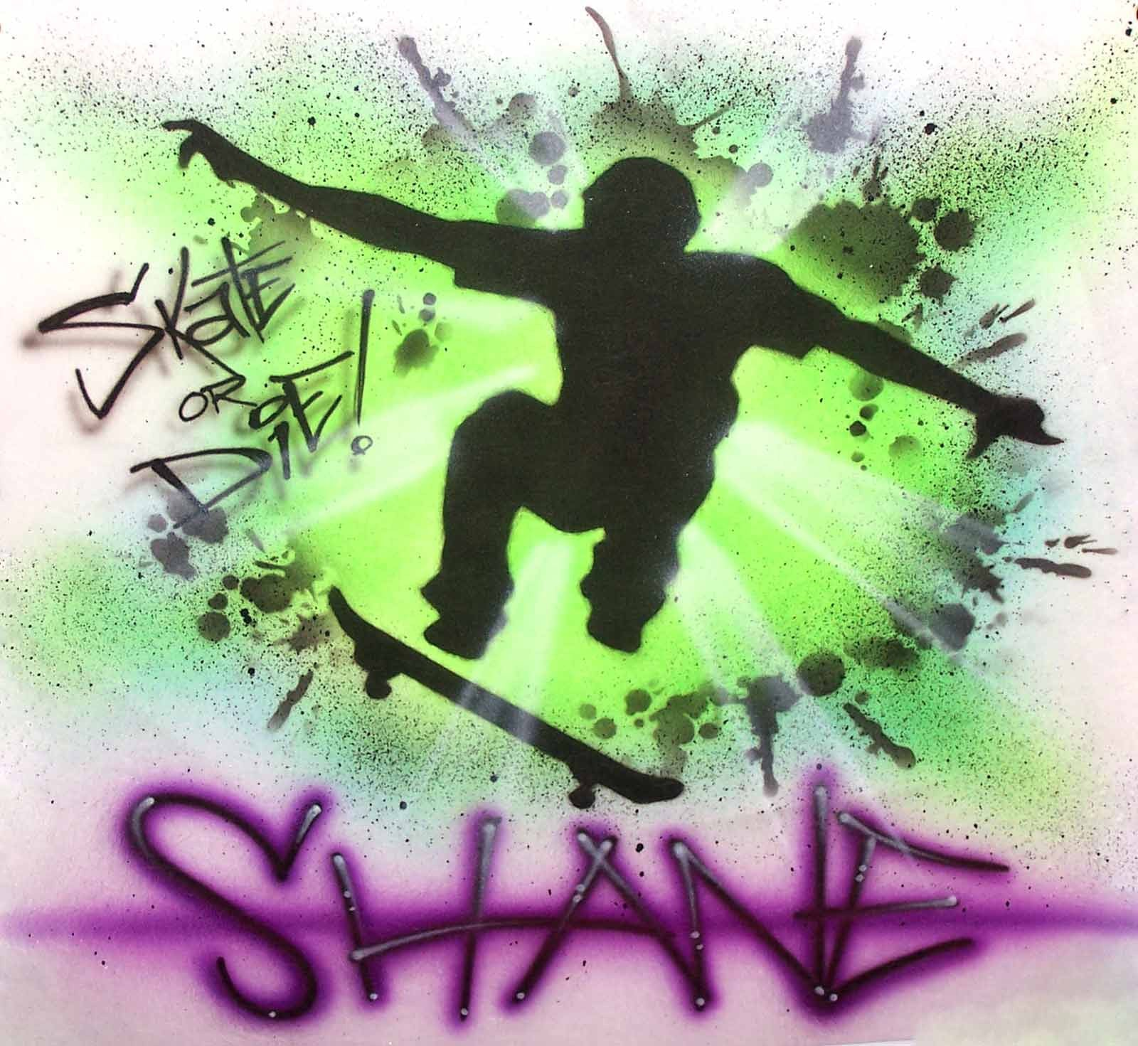 Skate or Die Airbrushed Skater Personalized T-Shirt Sweatshirt
