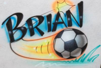Flying Soccer Ball with Any Name Airbrushed On Your Shirt