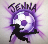 Soccer Player & Ball Airbrushed Personalized Shirt