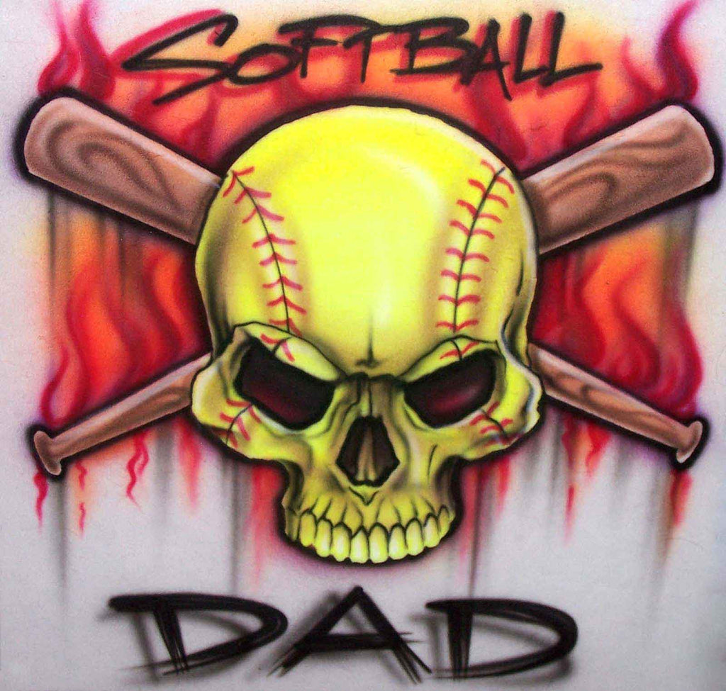 Softball Dad Airbrushed Skull Bats & Flames Custom Shirt Design