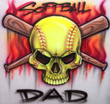 Softball Dad Airbrushed Flaming Skull and Bats Shirt Design