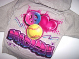 Airbrushed Peace Heart Softball Hooded Sweatshirt