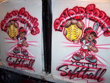 Softball Player Team Character Airbrushed T-Shirt