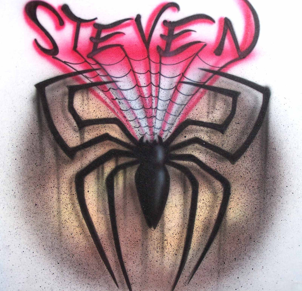 Airbrushed Spider with Web & Any Name Added T-Shirt Sweatshirt or Hoodie