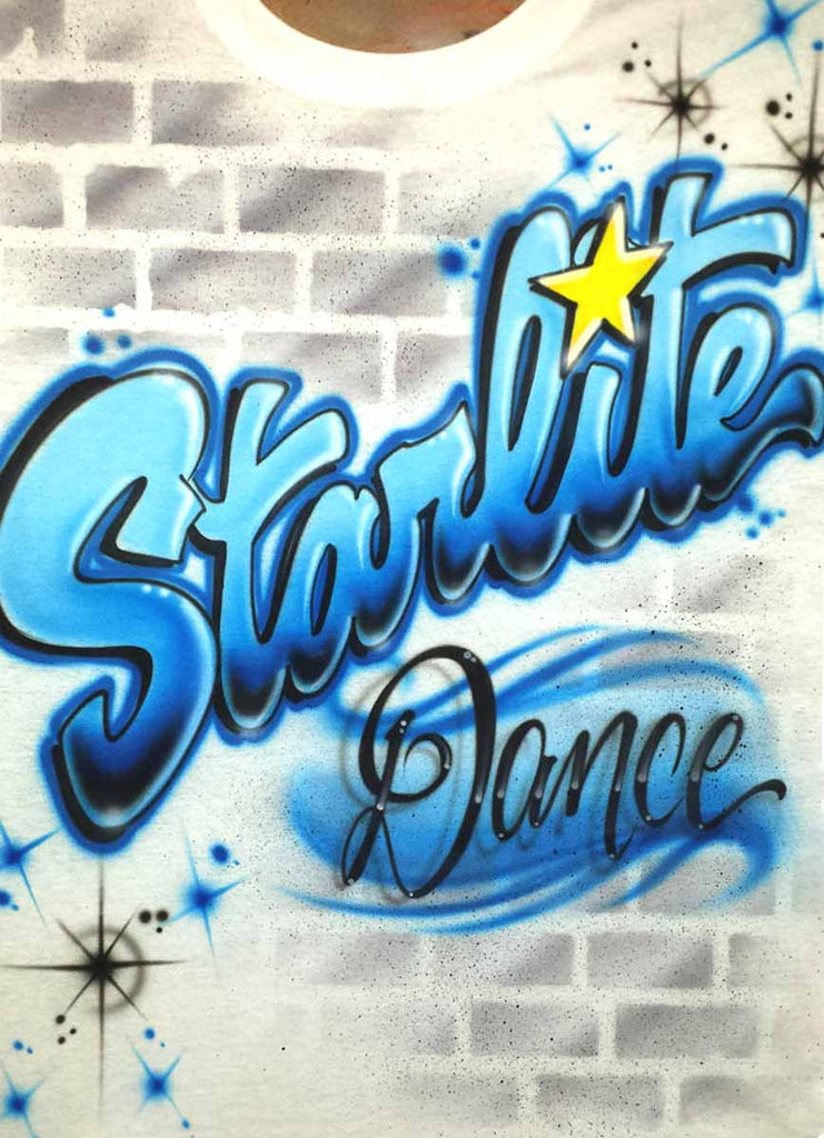 Graffiti Wall Dance Academy Name Airbrushed Shirt