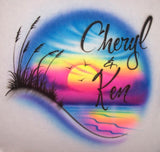 Double name sunset sky airbrush t-shirt