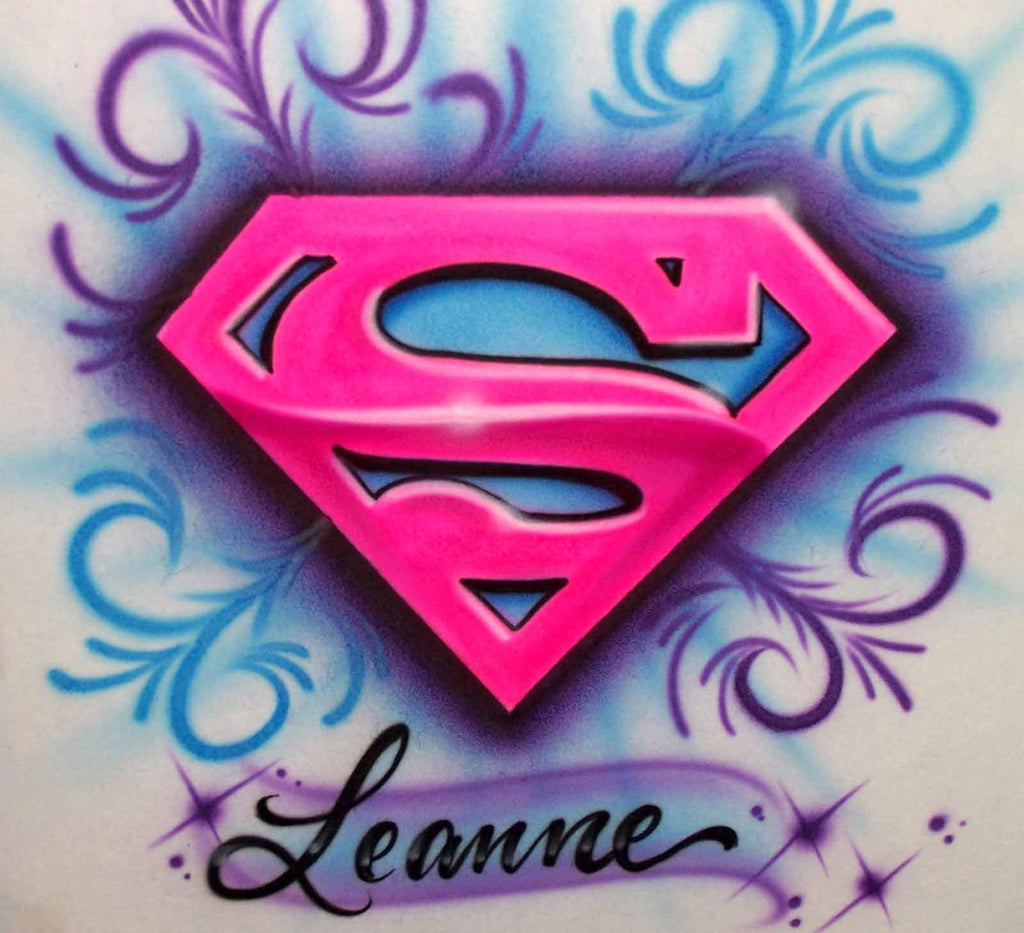 Airbrushed Super Girl Personalized T-Shirt or Sweatshirt