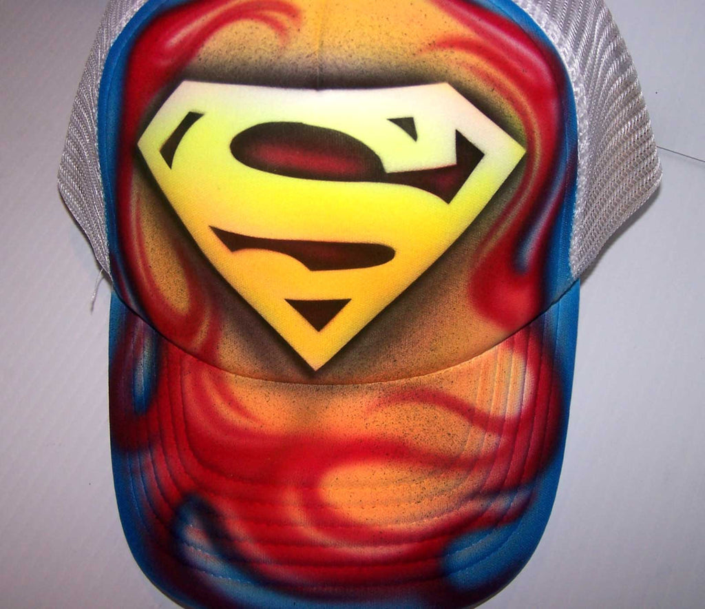 Full Cover Flames Airbrushed Superman Inspired Snap Back White Trucker Hat